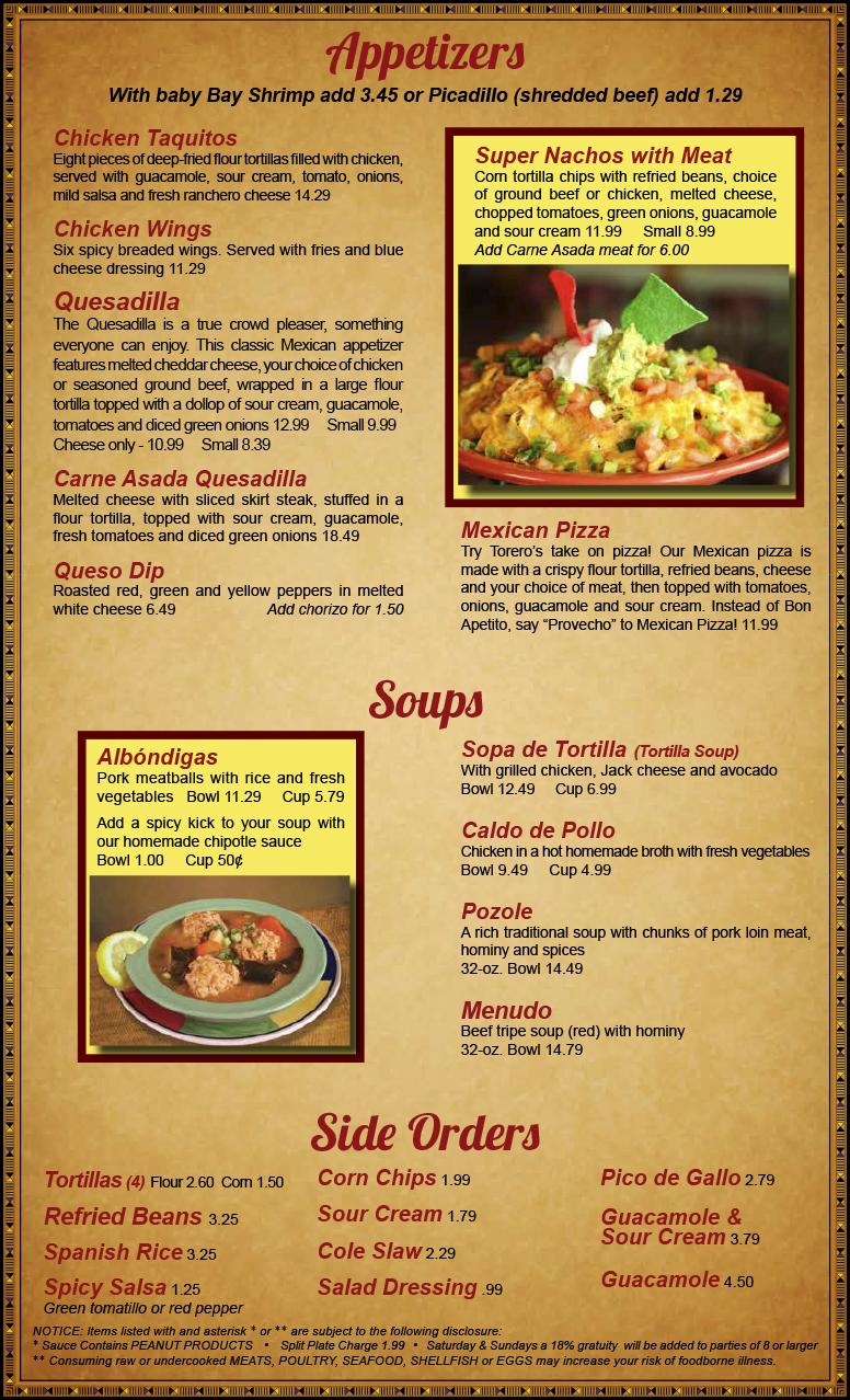 Just Like Home Toy Restaurant Menu : Toreros menu